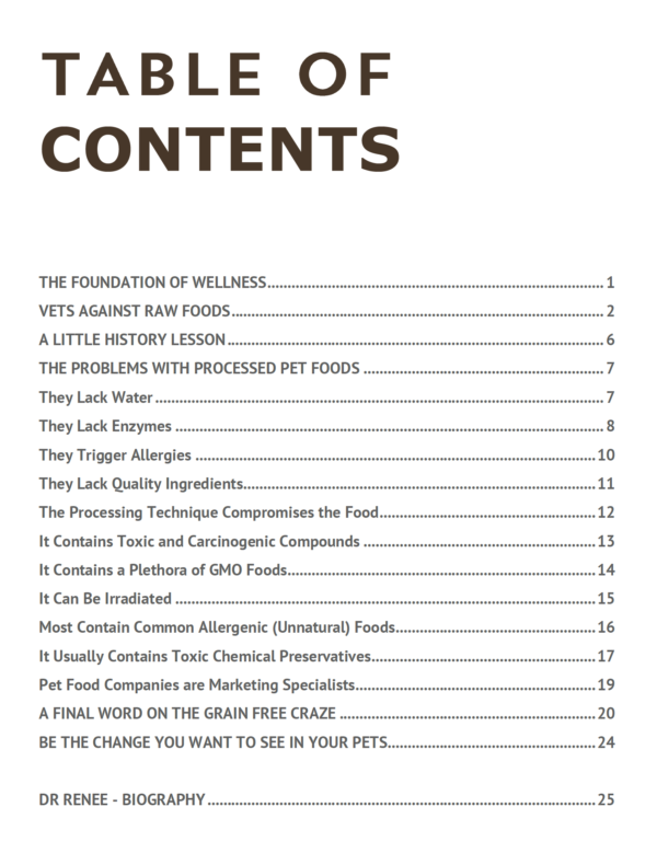 The Problems with Processed Pet Foods - Contents Page Snapshot