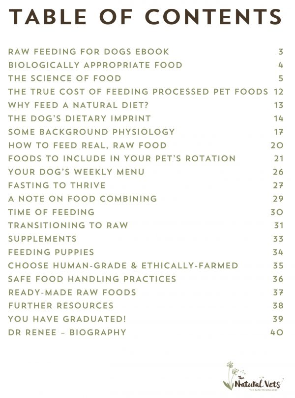 Raw Feeding For Dogs eBook - The Natural Vets - Contents