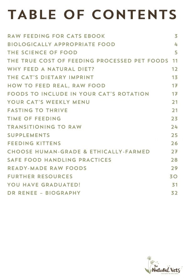 Raw Feeding for Cats eBook - The Natural Vets - Contents